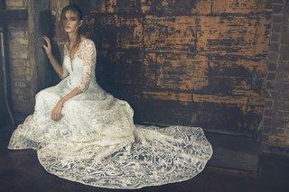 sareh-nouri-fall-2018-wedding-dress-evita-long-three-quarter-sleeve-lace-gown-cathedral-train
