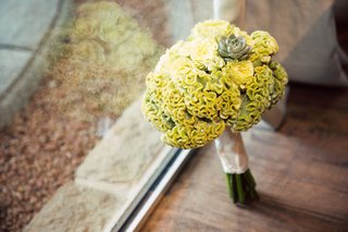 yellow-cockscomb-bridesmaid-bouquet-with-succulent-accent