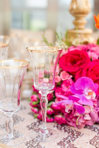 gold-rimmed-glasses-bold-fall-tablescape-jewel-tones-wedding-styled-shoot-reception-decor