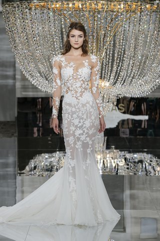 pronovias-fall-2018-sheer-mermaid-wedding-dress-crystal-tulle-embroidered-flowers