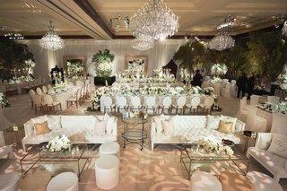 wedding-reception-ballroom-white-decor-flowers-chandeliers-fresh-greenery-trees