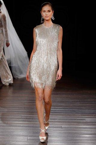 naeem-khan-bridal-spring-2017-new-orleans-silver-metallic-wedding-dress-cocktail-short-sleeveless