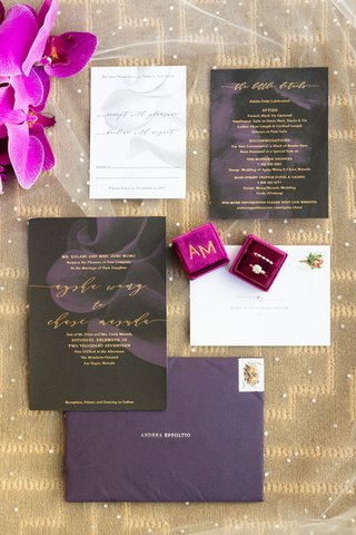 modern-invitation-suite-with-charcoal-paper-and-abstract-purple-flowers-purple-invitations