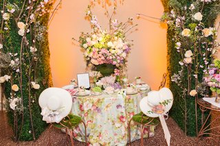 bistro-chairs-with-moss-and-white-hats-with-fresh-flowers