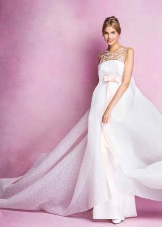 angel-sanchez-fall-2016-wedding-dress-with-pink-bow-and-illusion-neckline