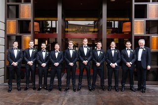 groom-and-groomsmen-father-family-in-tuxedos-for-los-angeles-wedding-marina-del-rey-hotel
