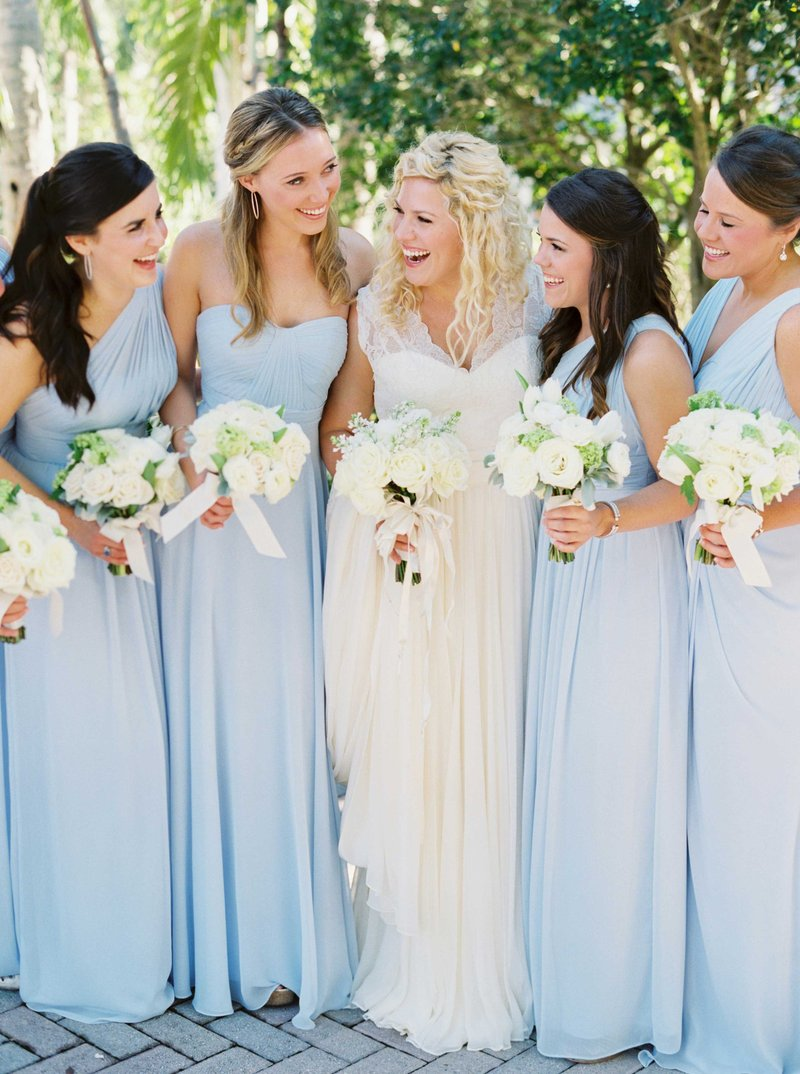 Mismatched Light Blue Bridesmaid Gowns
