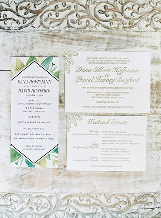 wedding-invitation-gold-palm-motif-and-ceremony-program-green-palm-frond-design-mexico-wedding