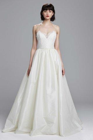 nouvelle-amsale-spring-2017-carey-wedding-dress-ball-gown-taffeta-skirt-spaghetti-straps