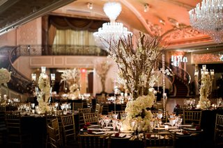 san-francisco-giants-joe-panik-wedding-centerpieces-with-branches-intertwined-with-flowers-crystals