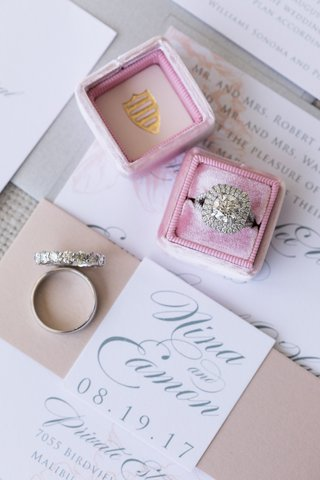 round-diamond-with-double-cushion-halo-engagement-ring-eternity-wedding-band-blush-mrs-box