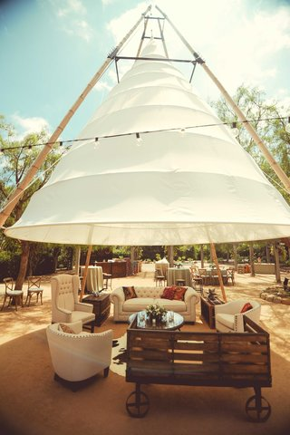 tufted-ivory-wedding-lounge-furniture-rustic-wood-under-tipi-tepee-in-courtyard-santa-barbara