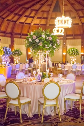 round-tablescape-tall-centerpiece-gilt-chairs-wedding-reception-hotel-del-coronado-photos