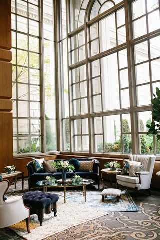 wedding-styled-lounge-tufted-velvet-furniture-teal-and-gold-details-fairmont-olympic-hotel-seattle