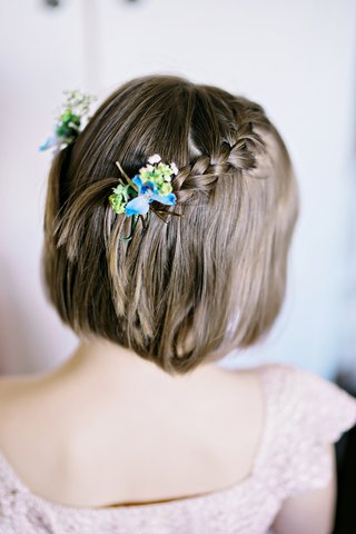 natural-flowers-flower-girl-hair-accessory-clip-real-blooms-braided-hairstyle-british-garden-wedding