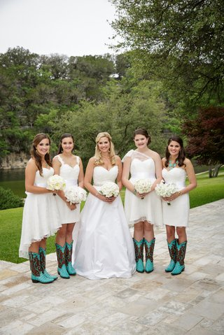 white-mismatched-bridesmaid-dresses-and-cowboy-boots