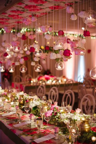 wedding-reception-flower-print-table-with-gold-vessel-orbs-candles-rose-suspended-from-ceiling