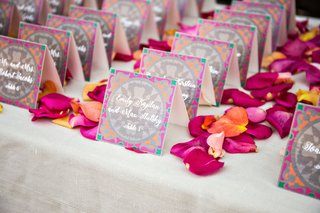 wedding-reception-escort-card-table-pink-orange-flower-petals-pink-orange-grey-green-escort-cards