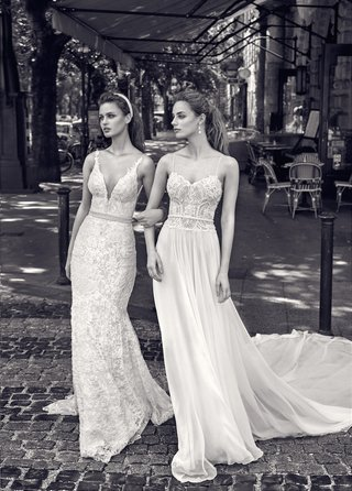 b-w-photo-of-gala-by-galia-lahav-2016-plunging-v-neck-wedding-dress-and-spaghetti-strap-bridal-gown
