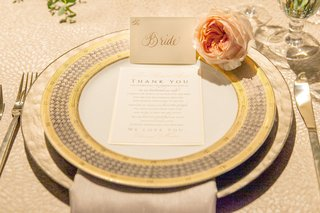 white-and-gold-calligraphy-thanks-you-note-on-yellow-charger-plates-at-the-reception
