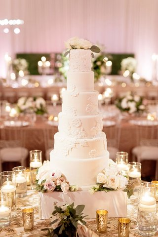 wedding-cake-six-layer-cake-with-flower-lace-design-to-match-brides-dress-reception