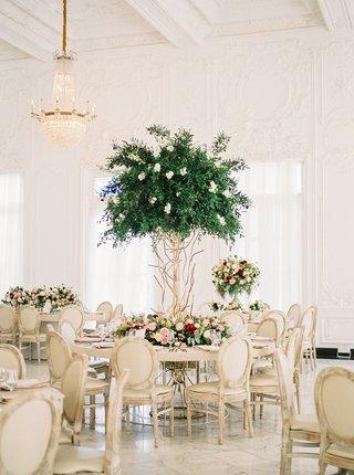 ballroom-wedding-reception-puerto-rico-mariana-paola-vicente-kike-hernandez-tall-tree-centerpiece