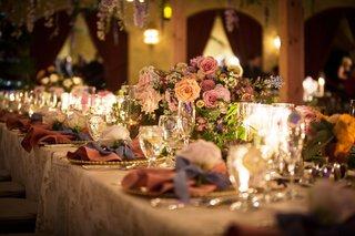 wedding-reception-flower-print-linens-gold-charger-pink-napkin-blue-ribbon-rose-flower-pink-blooms