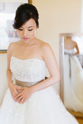 strapless-ball-gown-with-taupe-ribbon-belt