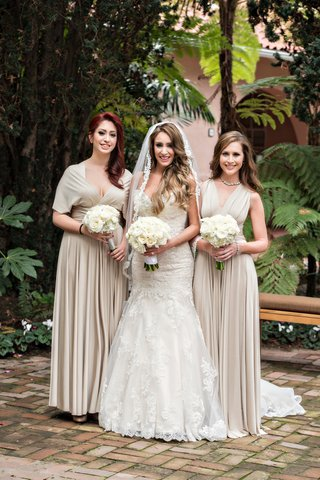 bride-in-kittychen-couture-lace-gown-bridesmaids-in-tan-bhldn-dresses