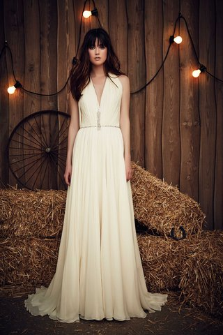 jenny-packham-2017-bridal-collection-sheath-wedding-dress-v-neck-with-silver-belt-and-thick-straps