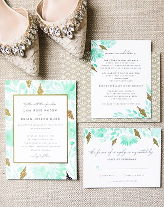 modern-invitation-suite-with-gold-details-and-turquoise-watercolor-painting-of-plants