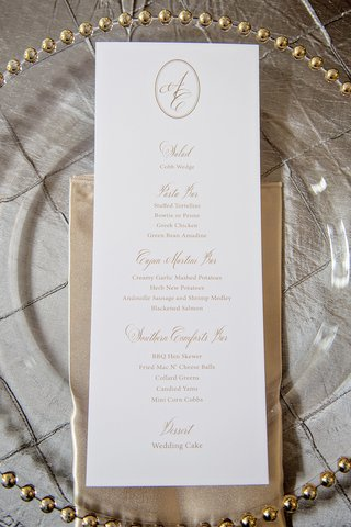 long-rectangle-wedding-menu-with-gold-script-and-monogram