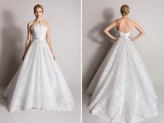 strapless-wedding-dress-with-lace-details-and-fan-neckline