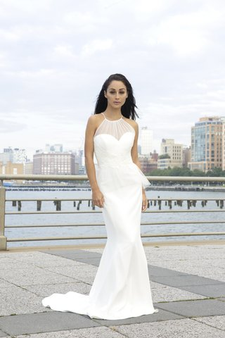 actress-cara-santana-in-amsale-ruby-tulle-peplum-bodice-crepe-silk-gown