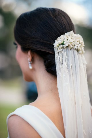 bride-with-updo-and-pearl-earring-wearing-vintage-antique-veil-wedding-ideas-lily-of-the-valley