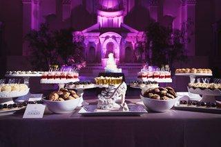 vibiana-wedding-reception-purple-lighting-shoe-dessert-dessert-sweets-bar-candy-bar-alternative