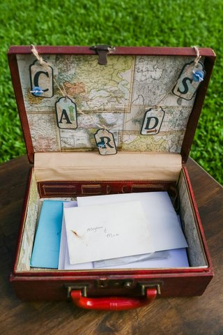 vintage-suitcase-lined-with-map-as-card-box-for-travel-themed-wedding-ceremony