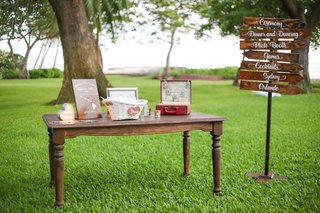 wood-directional-sign-post-card-box-fans-at-outdoor-destination-wedding-ceremony