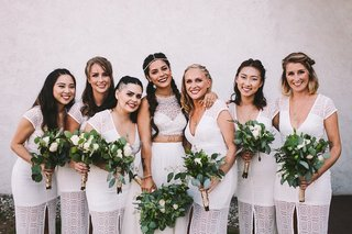 bride-in-crop-top-wedding-dress-from-bhldn-pearl-headpiece-greenery-bouquet-bridesmaids-in-white