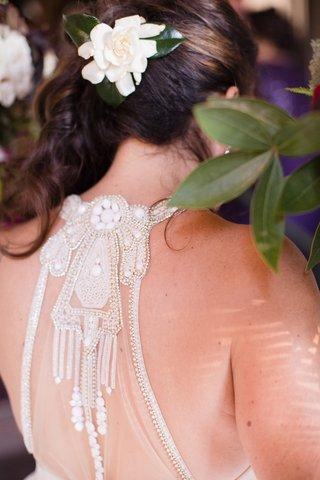 detailed-back-of-hayley-paige-wedding-dress-gardenia-in-hair