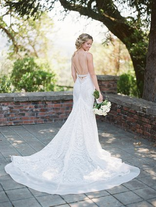 back-of-flared-lace-wedding-gown-white-rustic-berta-designer-chic-low-california