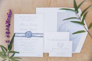 wedding-invitation-suite-formal-wedding-monogram-crest-laurel-wreath-reply-card-envelope-liner