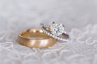 grooms-brushed-yellow-gold-wedding-ring-brides-diamond-wedding-band-and-diamond-engagement-ring