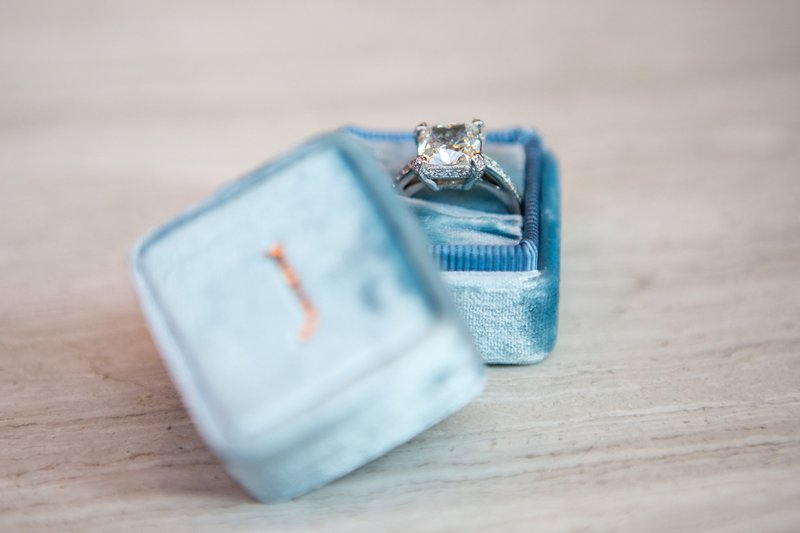 Square Engagement Ring, Personalized Box