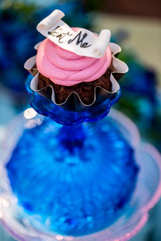 a-miniature-chocolate-cupcake-with-pink-frosting-and-eat-me-on-pink-base