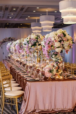 wedding-reception-styled-shoot-inspiration-metallic-linens-tall-flower-arrangements-chandeliers-gold