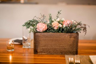 wooden-planter-box-arrangement-glass-votives-rustic-wedding-portland-oregon-pink-white-greenery-tea