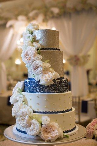 five-tier-navy-silver-cake-glitter-north-carolina-wedding-flowers-lemon-curd-raspberry
