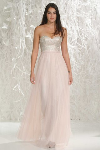 wtoo-bridesmaids-2016-strapless-bridesmaid-dress-with-long-pink-skirt-and-silver-sweetheart-neckline