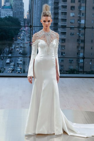 astrid-ines-di-santo-fall-2018-long-sleeve-trumpet-pleat-wedding-dress-off-shoulder-bell-sleeve